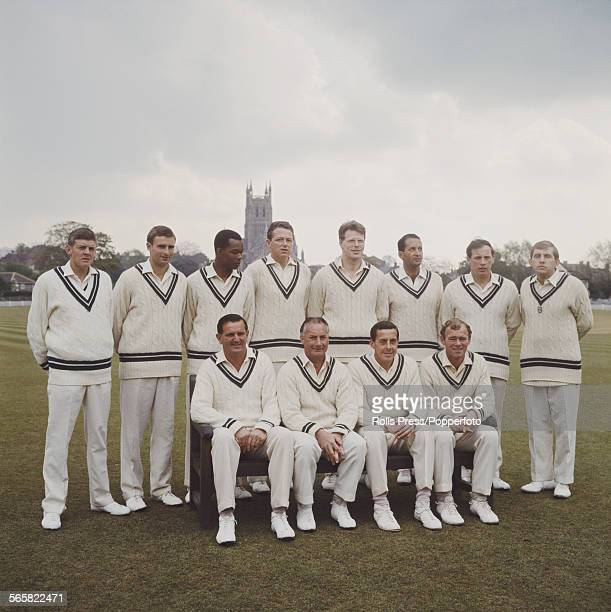 Group shot of Worcestershire County Cricket Club team posed together before their match against India at Worcestershire's home ground at New Road...