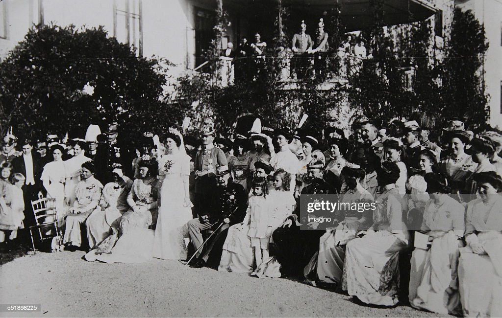 Group shot with Emperor Franz Joseph I of Austria on the occasion of the marriage of Archduke Carl Franz Joseph (later Emperor Karl I) to Princess Zita of Bourbon-Parma in Castle Schwarzau am Steinfeld / Lower Austria. 21th October 1911. Photograph.