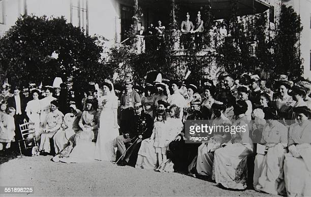 Group shot with Emperor Franz Joseph I of Austria on the occasion of the marriage of Archduke Carl Franz Joseph to Princess Zita of Bourbon-Parma in...