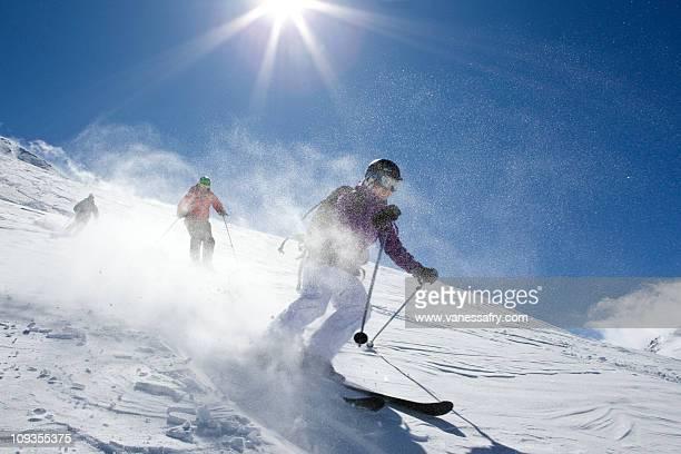 Group ski off-piste, Le Fornet, Val d'Isere