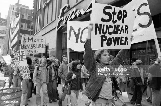 Group stages an anti-nuclear energy march and rally at the Federal Building, 219 South Dearborn Street, Chicago, Illinois, April 16, 1979.
