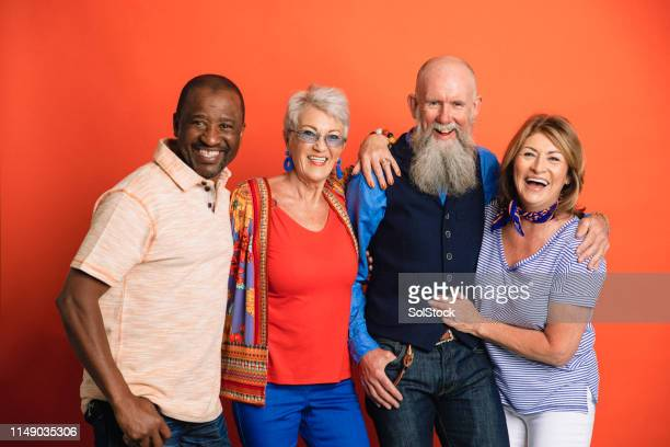 group studio portrait - small group of people stock pictures, royalty-free photos & images