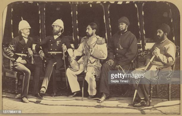 Group, The Amir Yakub Khan, General Daod Shah, Habeebula Moustafi with Major Cavagnari C.S.I. And Mr. Jenkyns; John Burke ; Afghanistan; May 1879;...