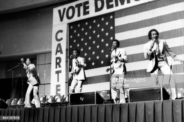 Group The Dramatics perform at the Cobo Hall for President Jimmy Carter's Reelection campaign in 1980