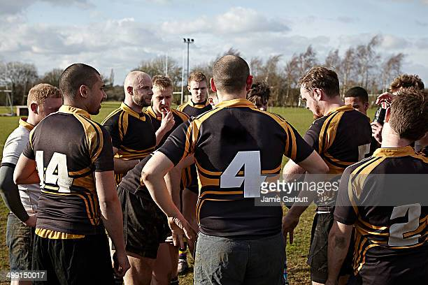 group the male rugby players during half time - team sport stock pictures, royalty-free photos & images