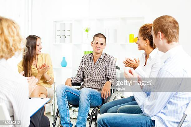 Group Therapy-Support For Handicap Man.