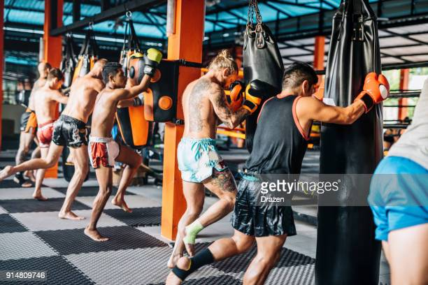 group training for trainees in mma camp in thailand - muay thai imagens e fotografias de stock