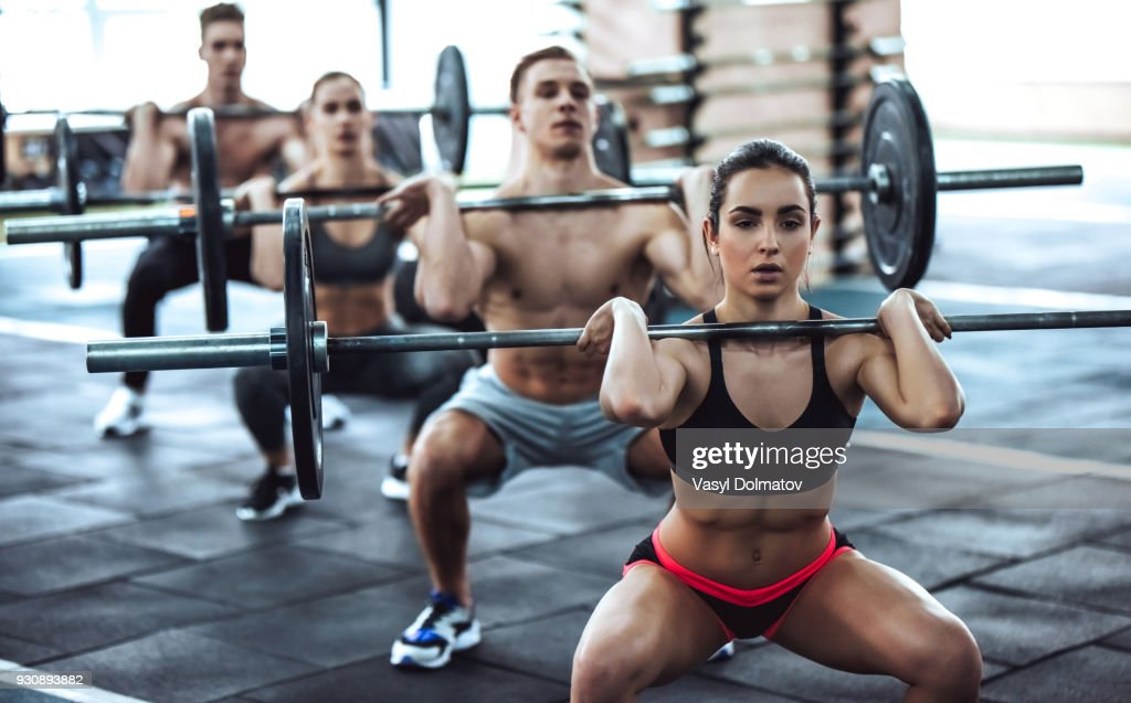 Group training in gym : Stock Photo