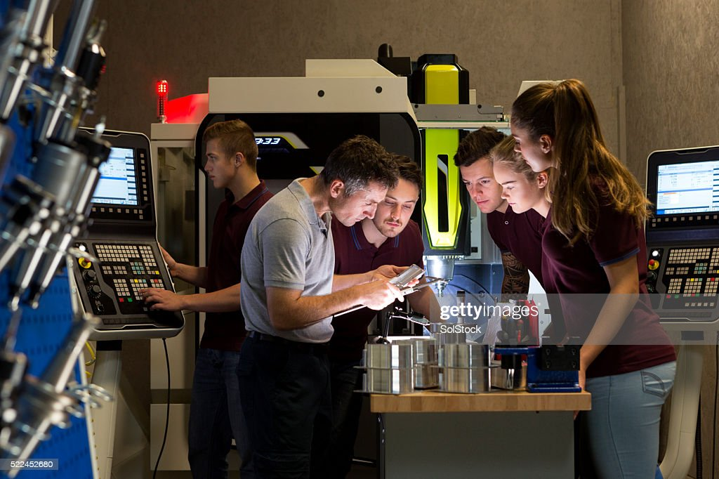 Group Tuition on Precision Measurement Instruments : Stock Photo