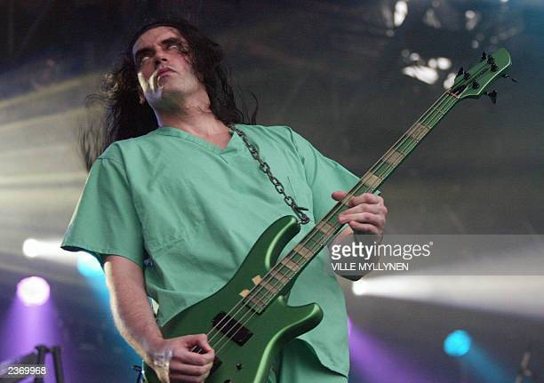 US group Type O Negative's frontman Peter Steele performs on the opening night of the biggest Nordic heavymetal music festival Tuska 2003 11 July...