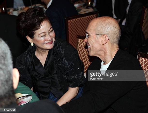 Group vice chairman Miky Lee and CEO of DreamWorks Animation Jeffrey Katzenberg attend CinemaCon 2011 at The Colosseum of Caesars Palace on March 28...