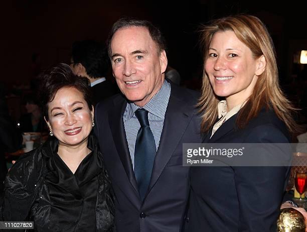 CJ Group vice chairman Miky Lee Warner Bros Entertainment's EVP of international Richard Fox and Warner Bros Pictures' president of international...
