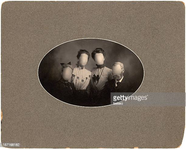 group vintage portrait - oval shaped objects stock pictures, royalty-free photos & images