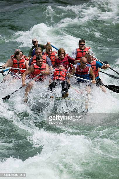 Group white-water rafting, elevated view
