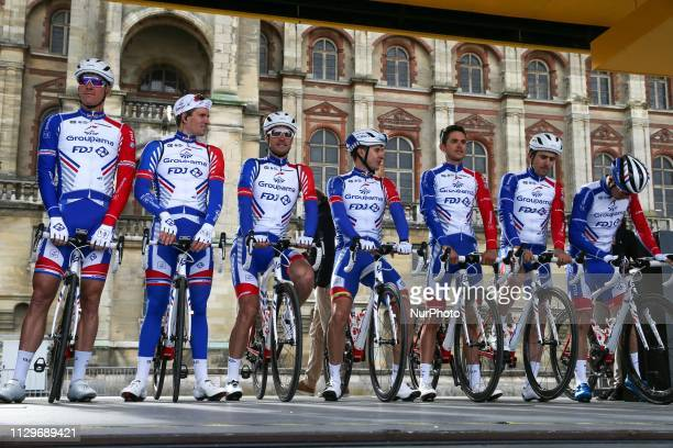 Groupama FDJ cycling team poses during the team's presentation at the start of the 1385km 1st stage of the 77th ParisNice cycling race between...