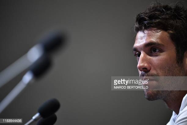 Groupama - FDJ French rider Thibaut Pinot gives a press conference in Brussels on July 3 three days prior to the start of the 106th edition of the...