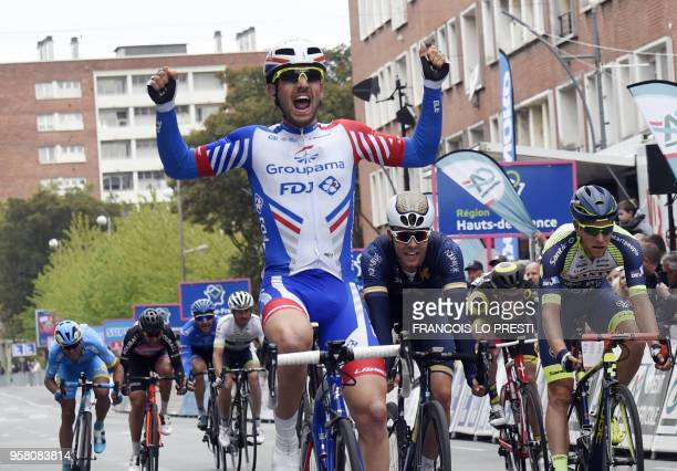 Groupama - FDJ's Frewnch rider Olivier Le Gac celebrates as he won the 6th and last stage of 2018 Four Days of Dunkirk, a 179,4km stage bewteen...