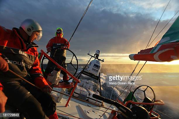 Groupama Sailing Team skippered by Franck Cammas of France during leg 1 of the Volvo Ocean Race to Cape Town on November 6 2011