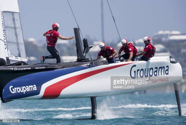 Groupama Team France skippered by Franck Cammas races during the forth day of the Louis Vuitton Americas Cup Qualifiers on May 30, 2017 on Bermuda's...