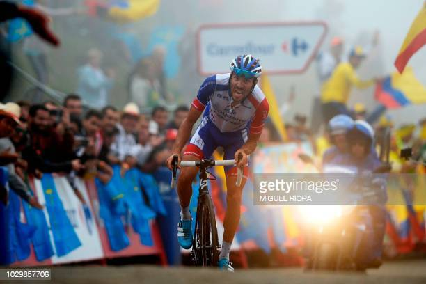 "Groupama-FDJ's French cyclist Thibaut Pinot races to the finish-line to win the 15th stage of the 73rd edition of ""La Vuelta"" Tour of Spain cycling..."