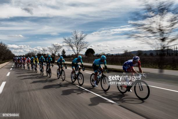 Groupama-FDJ's French rider Mickael Delage leads the pack during the 165km fifth stage of the 76th Paris-Nice cycling race between Salon de Provence...