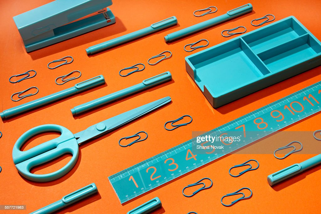 Grouping of Office Supplies : Stock Photo