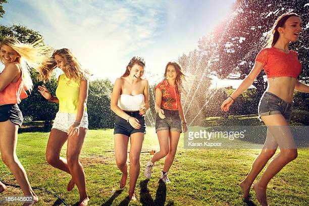 Grouple of female teenagers laughing