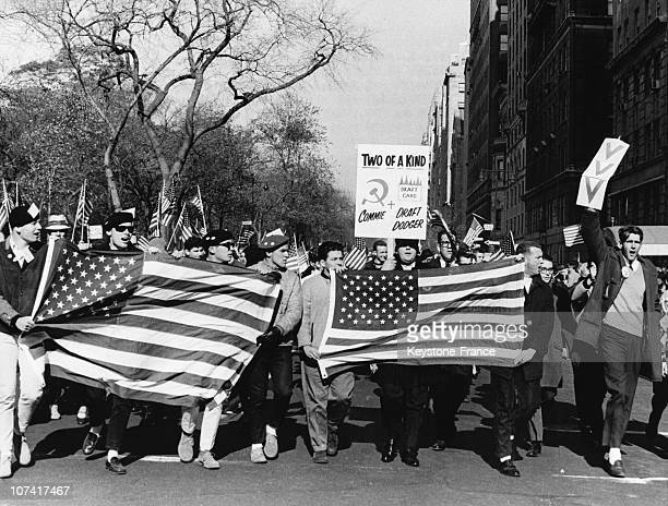 Groups Demonstrating For The War In Vietnam In New York On October 30Th 1965