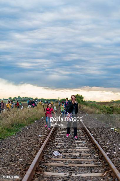 groups has started the walk to Hungary along the train tracks on September 6 2015 Serbian and Hungarian border Ulrik Pedersen/NurPhoto