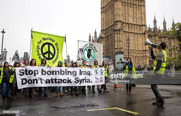 Groups including the Stop the War Coalition march through central London in protest against the United Kingdom government's military intervention...