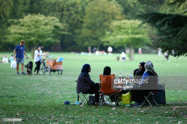 Groups of people gather in Battersea Park on September 13, 2020 in South West London, England. Concerned by rising cases of Covid-19, the British...