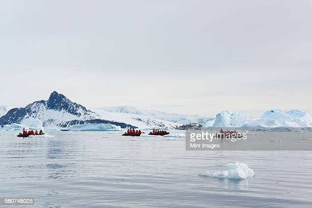 Groups of people in rubber boats near an iceberg in the Antarctic.