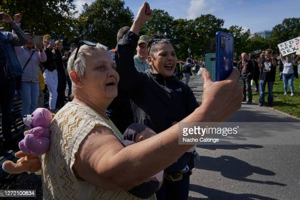 Groups of protestors attend the demonstration against paedophilia held on September 12 2020 in The Hague Netherlands A demonstration has been called...