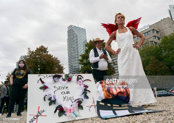 Groups of protestors with banners attend the demonstration against paedophilia held on September 12 2020 in The Hague Netherlands A demonstration has...