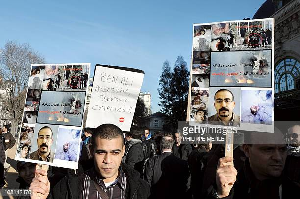Groups of Tunisians and supporters demonstrate in Lyon eastern France on January 15 2011 after ousted Tunisian leader Zine El Abidine Ben Ali fled...