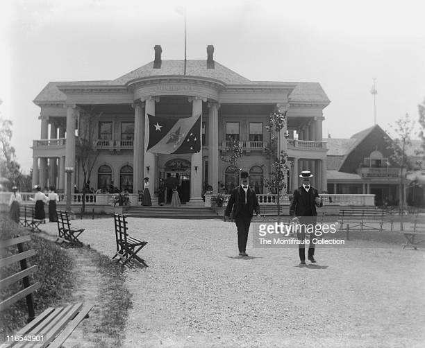Groups of visitors at the PanAmerican Exposition World Fair held in Buffalo New York from 1st May to 2nd November visiting the Michigan State...