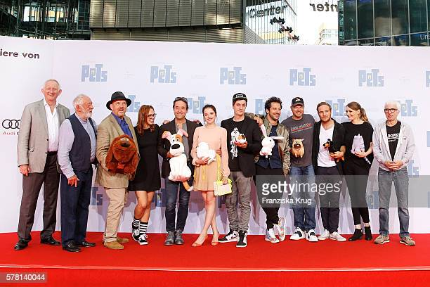 Groupshot of the dubbing actors the premiere of the film 'PETS' at CineStar on July 20 2016 in Berlin Germany
