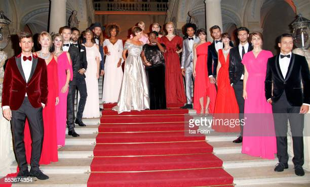 Groupshot with all models and Minx Designer Eva Lutz and Auma Obama halfsister of former US president Barack Obama during the Minx Fashion Night in...