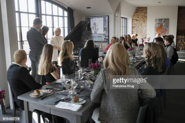 Groupshot with Nils Behrens Alexandra von Rehlingen and Elke BenedettoReisch during the Lanserhof Ladies Lunch at Loft am Mauerpark on February 28...