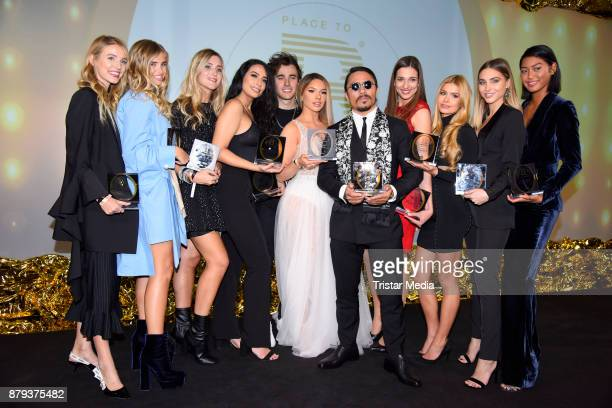 Groupshot with the award winners Shirin David Nusret Goekce AnnKathrin Broemmel Anuthida Ploypetch and others attend the Place To B Influencer Award...