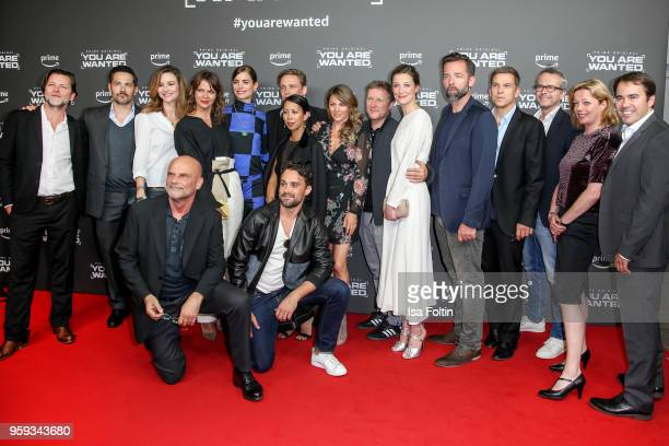 Groupshot with the full cast and all producers during the premiere of the second season of 'You are wanted' at Filmtheater am Friedrichshain on May...