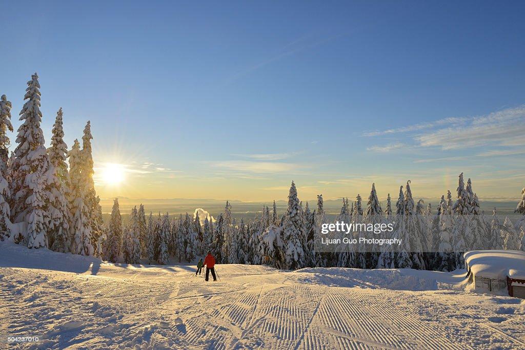 Grouse Mountain Ski Hills sunrise : Stock Photo