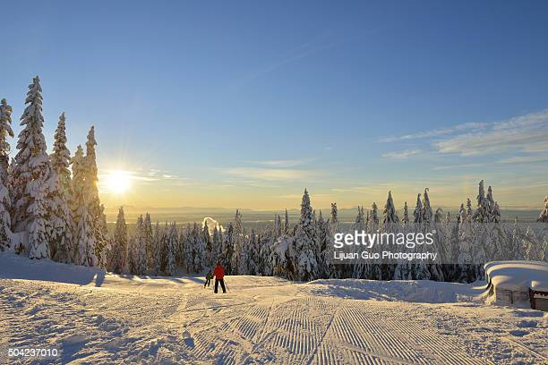 grouse mountain ski hills sunrise - grouse mountain stock photos and pictures