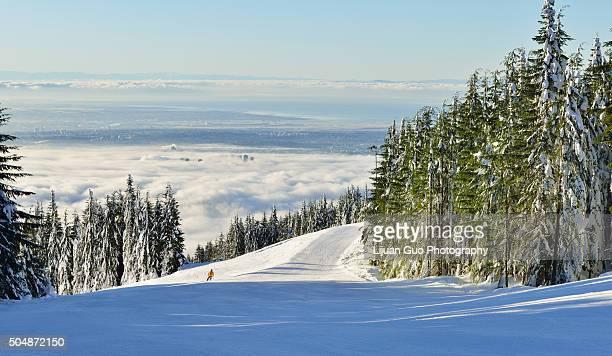 grouse mountain ski resort - grouse mountain stock photos and pictures