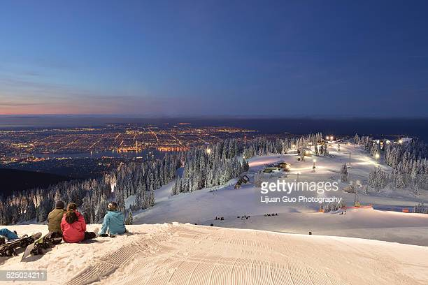grouse mountain ski resort sunrise - grouse mountain stock photos and pictures