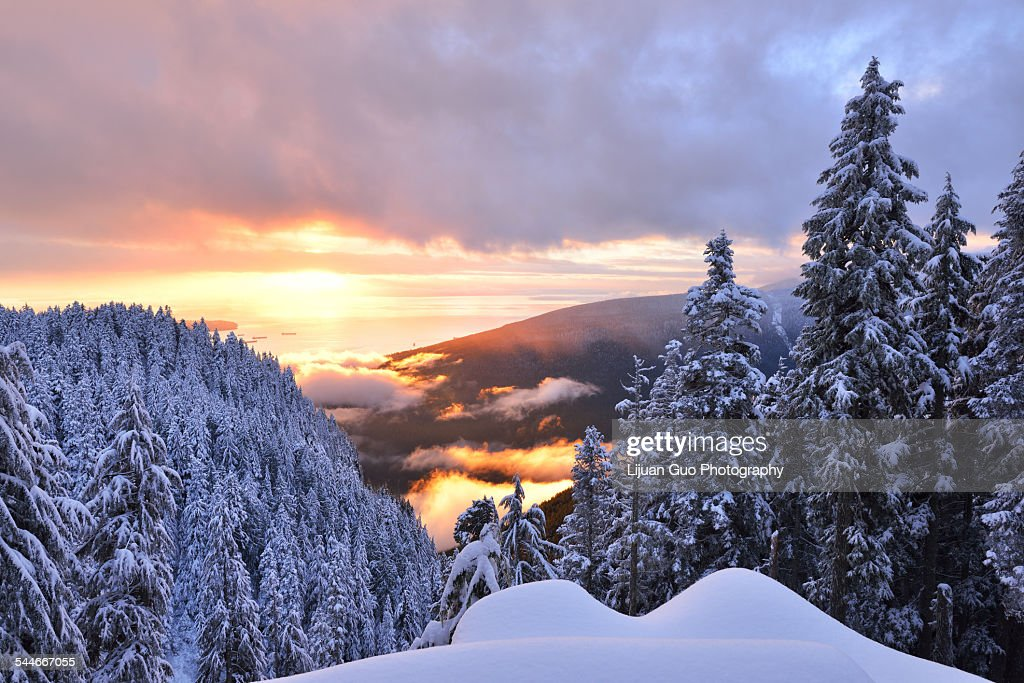 Grouse Mountain sunset, the Peak of Vancouver : Stock Photo