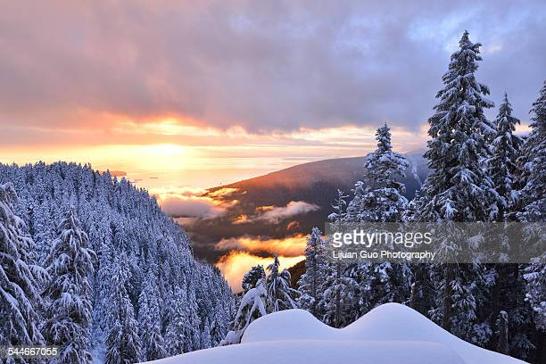 grouse mountain sunset, the peak of vancouver - grouse mountain stock photos and pictures