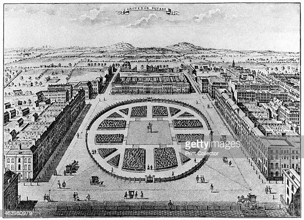 Grovenor Square, London, 18th century . Grosvenor Square was originally laid out in the 1720s. A print from The History of the Squares of London...