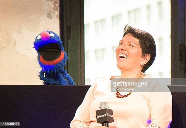 Grover and Dr Jeanette Betancourt attend AOL Build Speaker Series Sesame Street's Grover And The USO Dr Jeanette Betancourt And Rachel Tischlerat AOL...