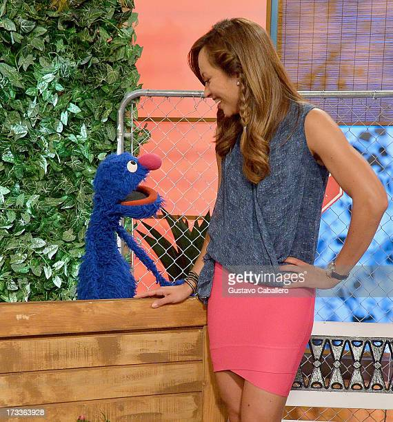 """Grover and Satcha Pretto of Sesame Street hosts """"Despierta America"""" at Univision Headquarters on July 12, 2013 in Miami, Florida."""